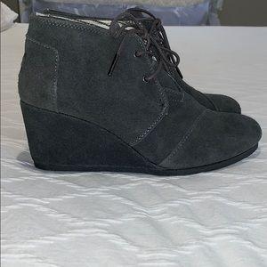 Charcoal Suede Toms Booties
